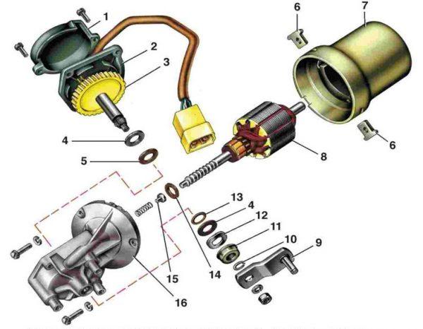 Элементы моторедуктора