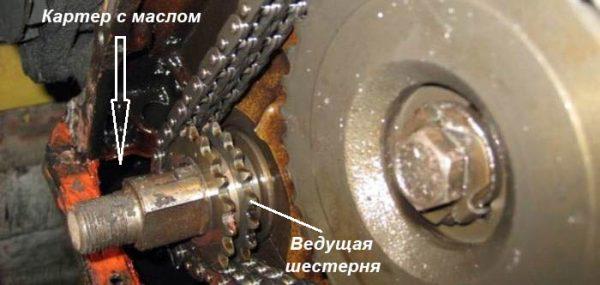 Где расположена ведущая шестерня ГРМ на ВАЗ 2101–07