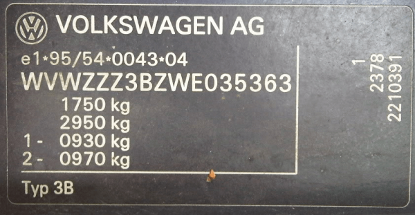 Расшифровка VIN кода автомобиля Volkswagen