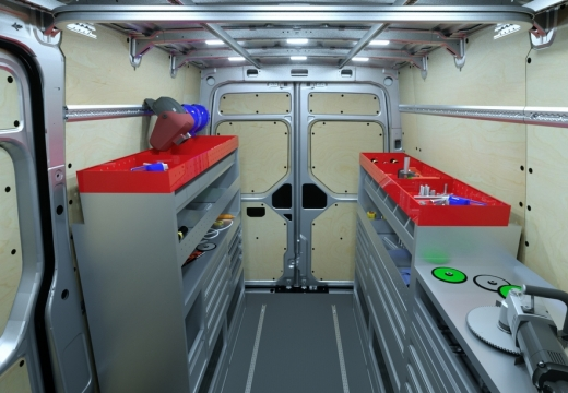 Салон, оборудованный под хранение рабочих инструментов
