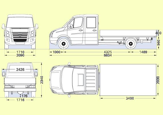 Габаритные размеры грузовика с двумя кабинами и длинной колёсной базой