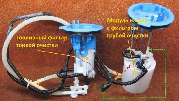 Схема соединения топливного насоса и фильтра
