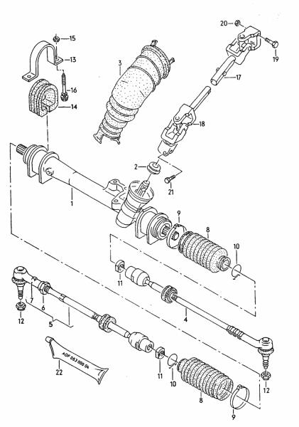Устройство рулевой рейки Passat B3