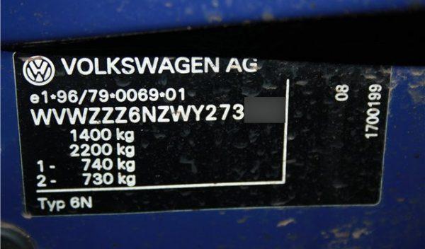 VIN-код Volkswagen Polo III