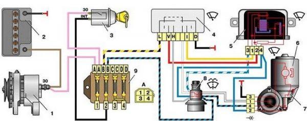 Схема подключения стеклоочистителя