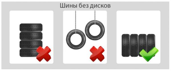 Хранение шин без дисков