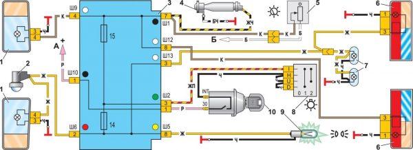 Схема подключения наружного освещения ВАЗ 21074
