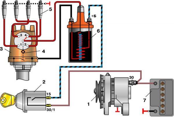 Схема контактной системы зажигания ВАЗ 21074