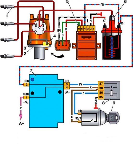 Схема бесконтактного зажигания ВАЗ 21074