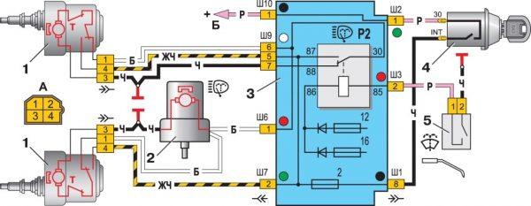 Схема подключения «дворников» на ВАЗ 21074